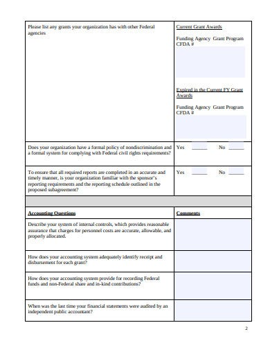 financial accounting questionnaire template