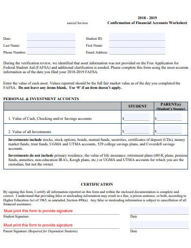 financial accounts worksheet