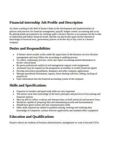financial internship job description