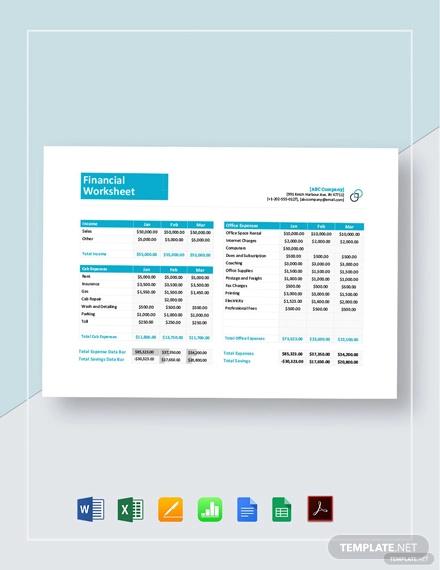 financial worksheet template1