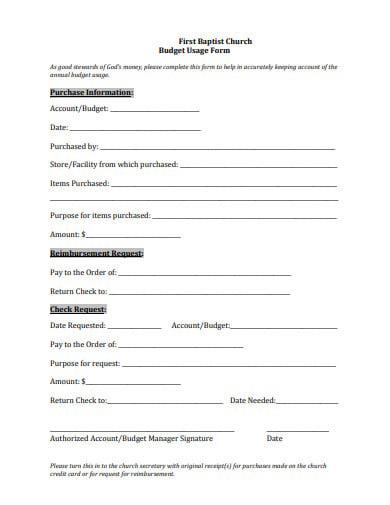 first baptist church budget usage form template