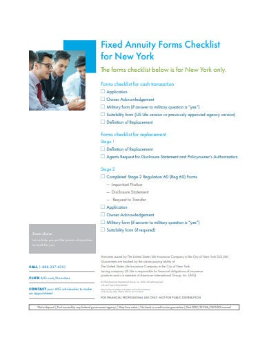 fixed annuity forms checklist template