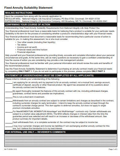 fixed annuity statement template