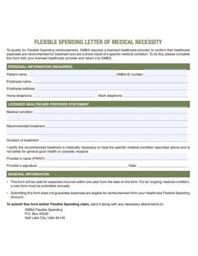 flexible spending letter of medical necessity
