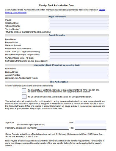 foreign bank authorization form template