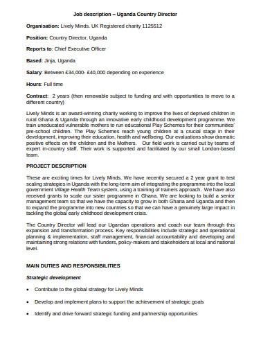 formal charity job description