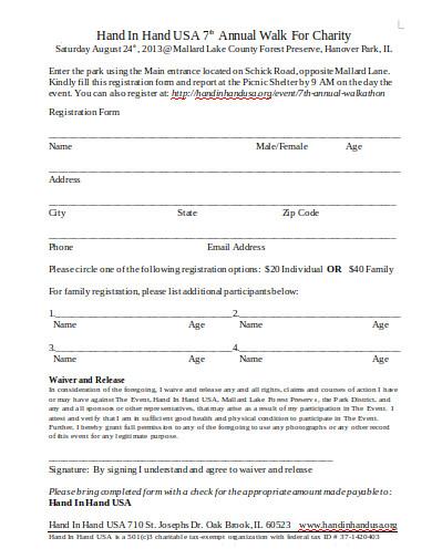 formal charity walk registration form