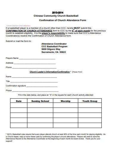 formal church attendance sheet