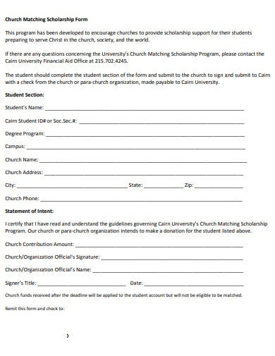 formal church scholarship application