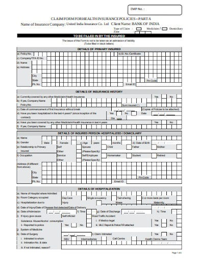 formal health insurance claim form