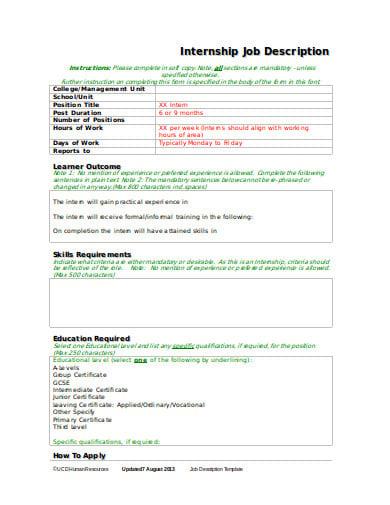 formal internship job description