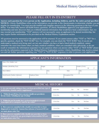 formal medical history questionnaire template