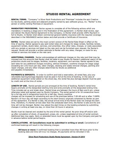 formal studio rental agreement