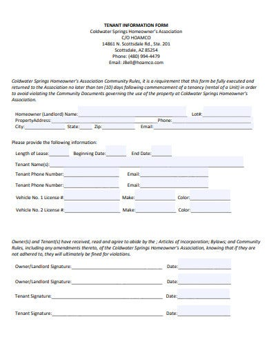 formal tenant information form