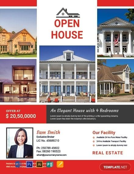 free broker open house flyer template1