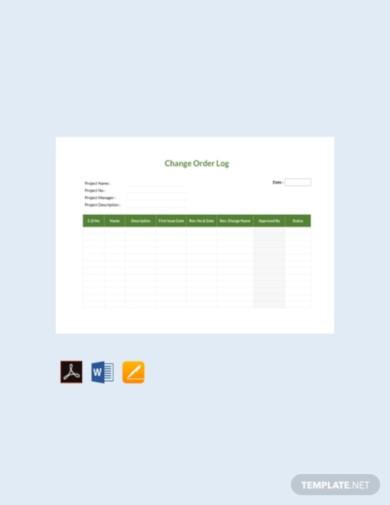 free change order log template