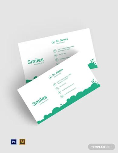 free children clinic business card template