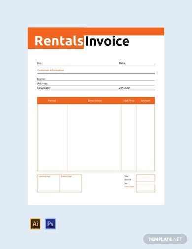 free commercial rental invoice template1