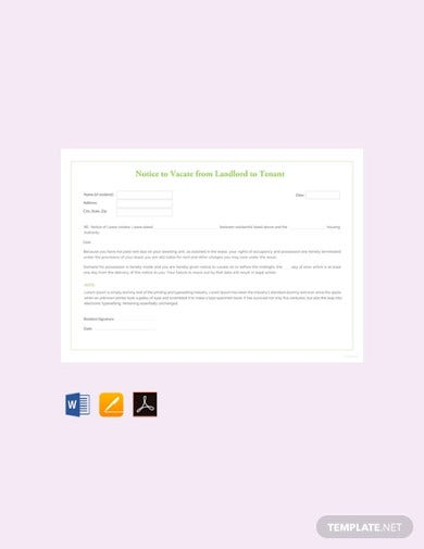 free notice to vacate from landlord to tenant template