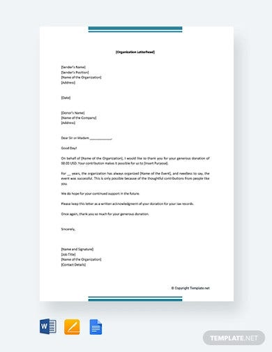 free thank you letter for donation of money