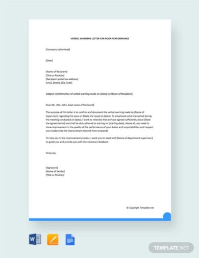 free verbal warning letter for poor performance1