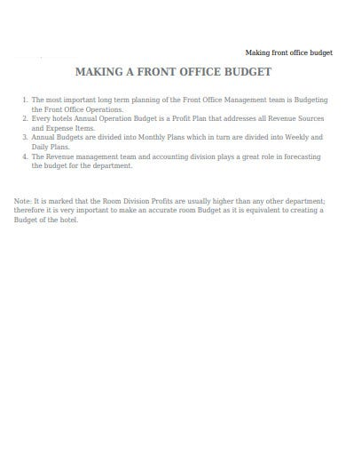 front office budget template