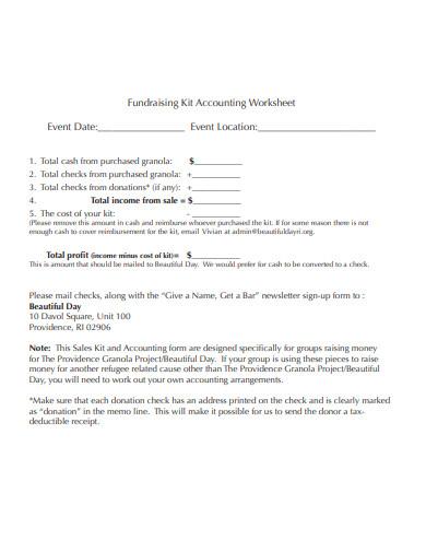 fundraising kit accounting worksheet
