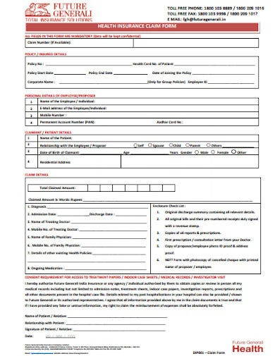 future general health insurance claim form