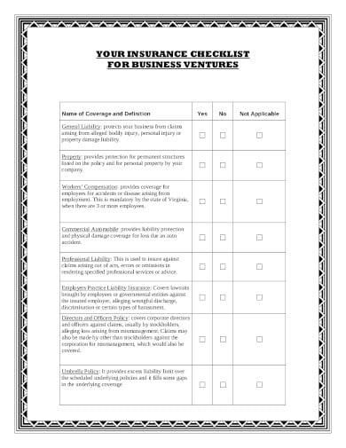 general liability insurance checklist template