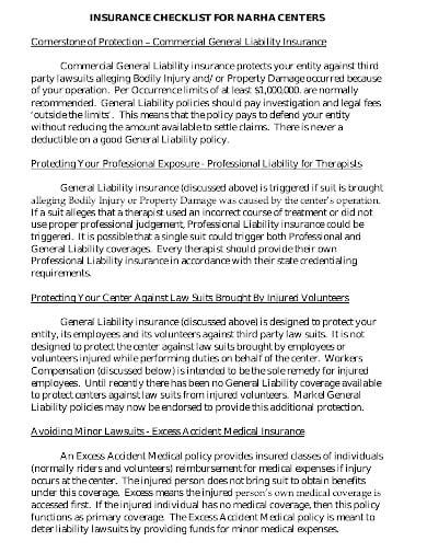 general liability insurance checklist in pdf