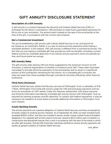 gift annuity disclosure statement