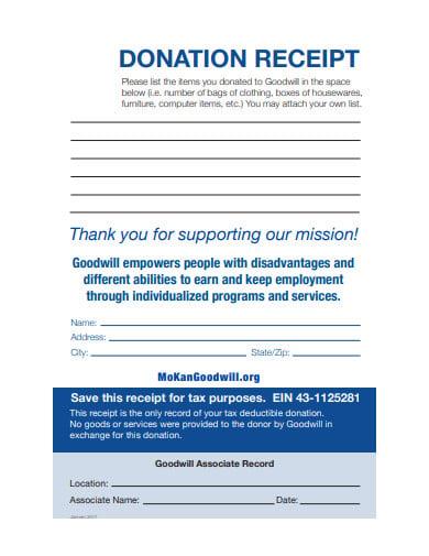 goodwill donation receipt letter template