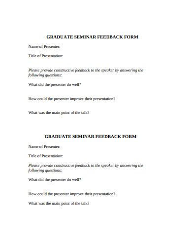 graduate seminar feedback form template