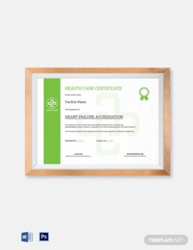 health care certificate template