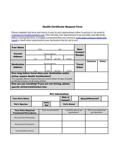 health certificate request form example