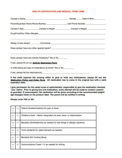 health certification form example