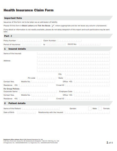 health insurance claim form format
