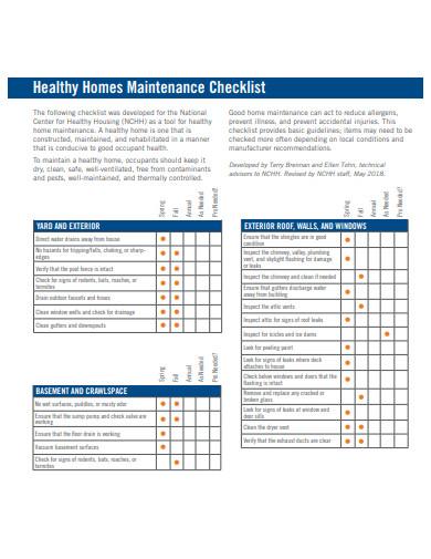 healthy homes maintenance checklist template