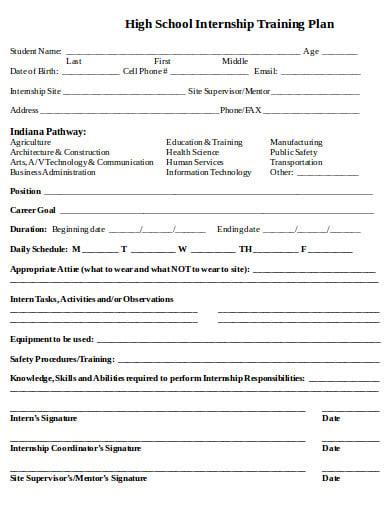 high school internship training plan template