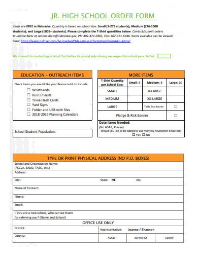 high school order form template