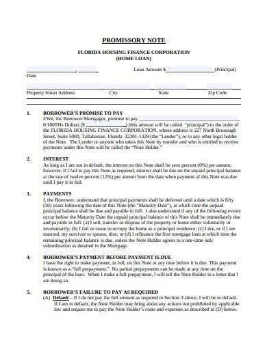 home loan promissory note template