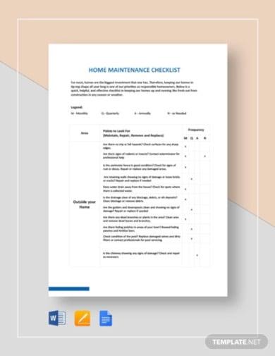 home maintenance checklist template1