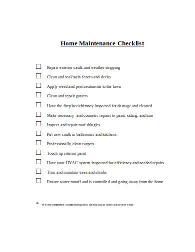 home maintenance checklist in doc