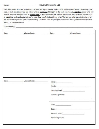 homework reading log template