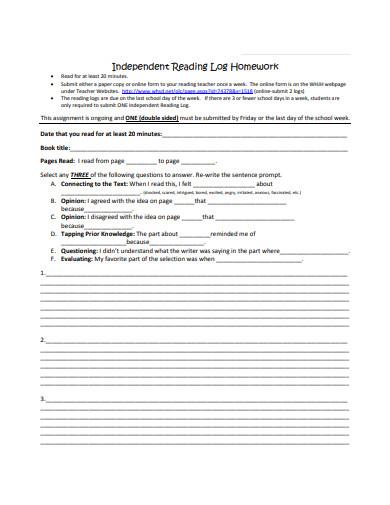 homework reading log in pdf