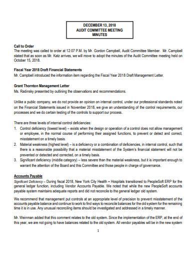 hospitals audit meeting agenda template