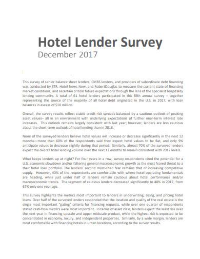 hotel lender survey template