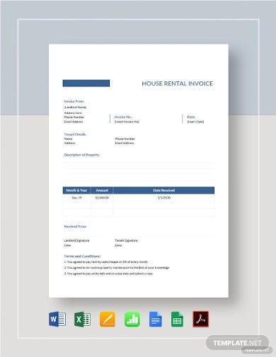house rental invoice template1