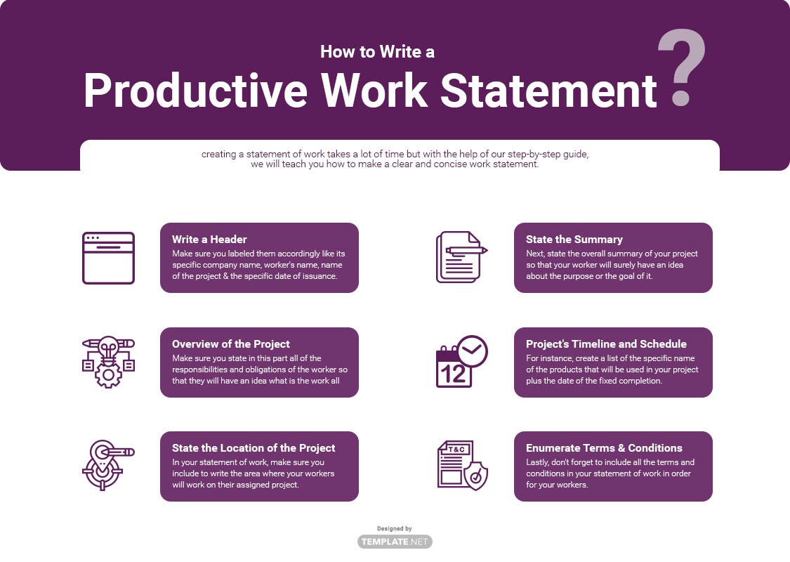 how to write a productive work statement