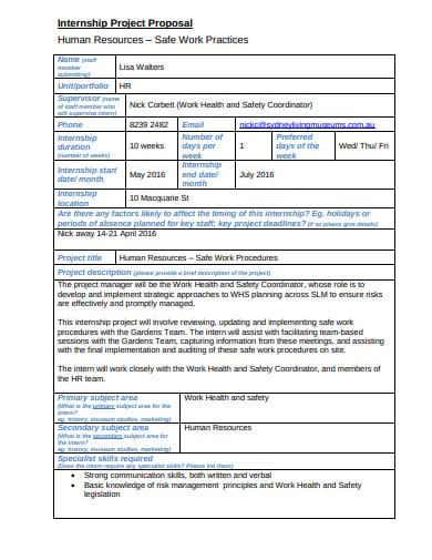 human resources internship project proposal